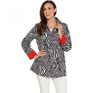 NEW Dennis Basso Zebra Water Resistant Jacket XS
